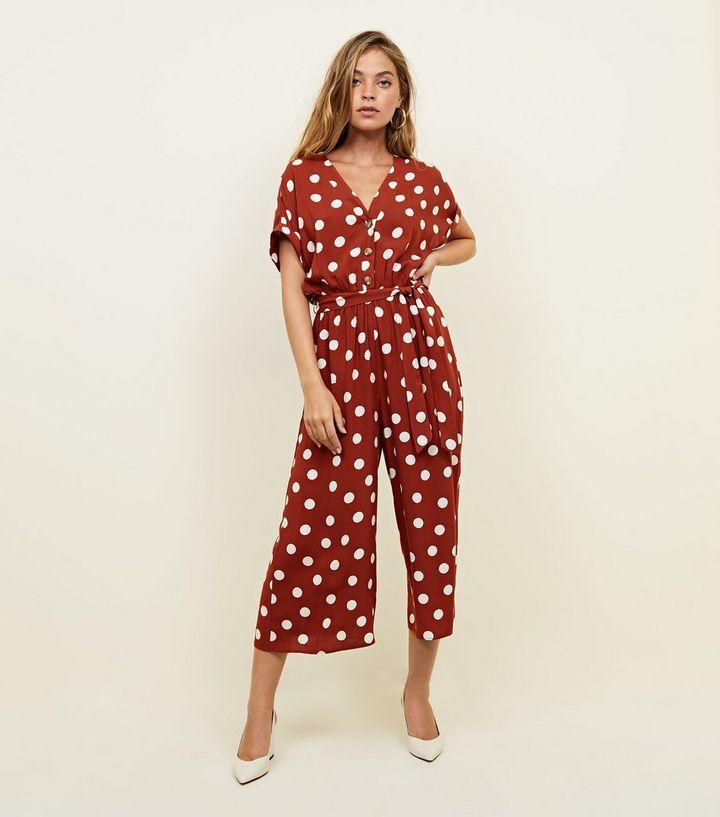 86c931b9fc7 Petite Rust Spot Print Jumpsuit