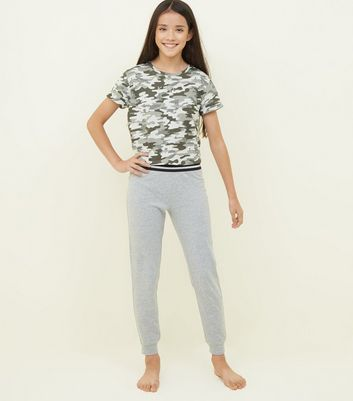 Girls Khaki Camo K Bye Gem Pyjama Set