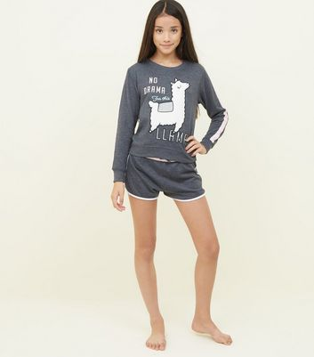 Girls Dark Grey Fluffy Llama Pyjama Set