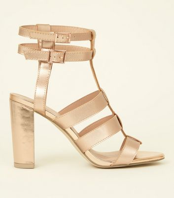 Rose Gold Metallic Gladiator Block Heels