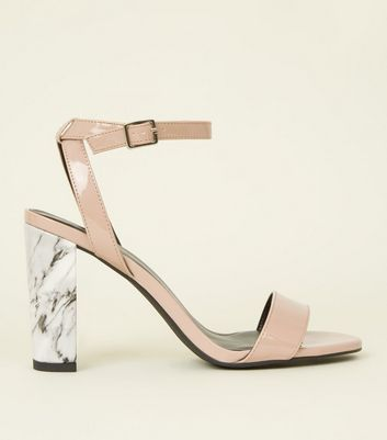 Nude Marble Effect Block Heel Sandals