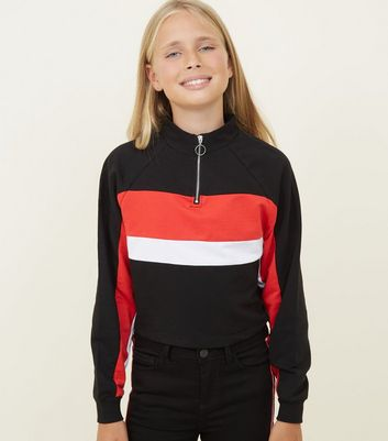 Girls Red Funnel Neck Colour Block Sweatshirt