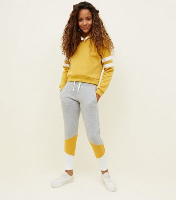 Girls Grey Colour Block Joggers