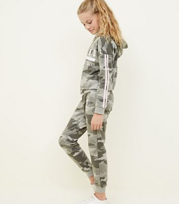 Girls Green Camo Joggers