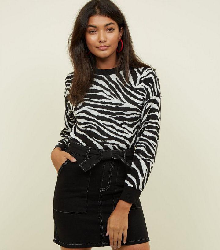 427167cbf39a5 Jupe en jean noire à surpiqûres contrastantes et nouée à la taille ...