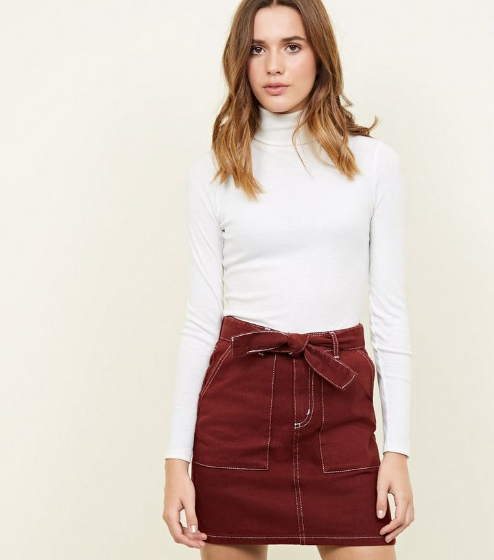 0ff72dd1417 Rust Tie Waist Contrast Stitch Denim Skirt | New Look