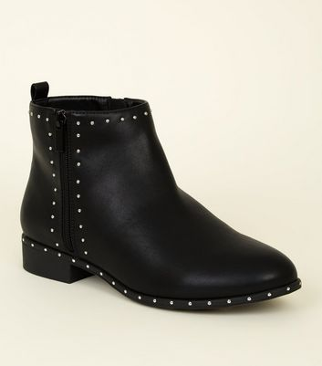 Wide Fit Black Leather-Look Studded Sole Boots