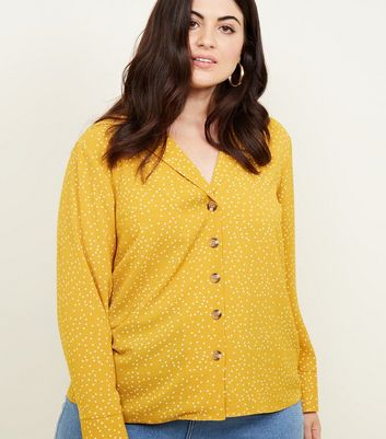 Curves Yellow Polka Dot Shirt