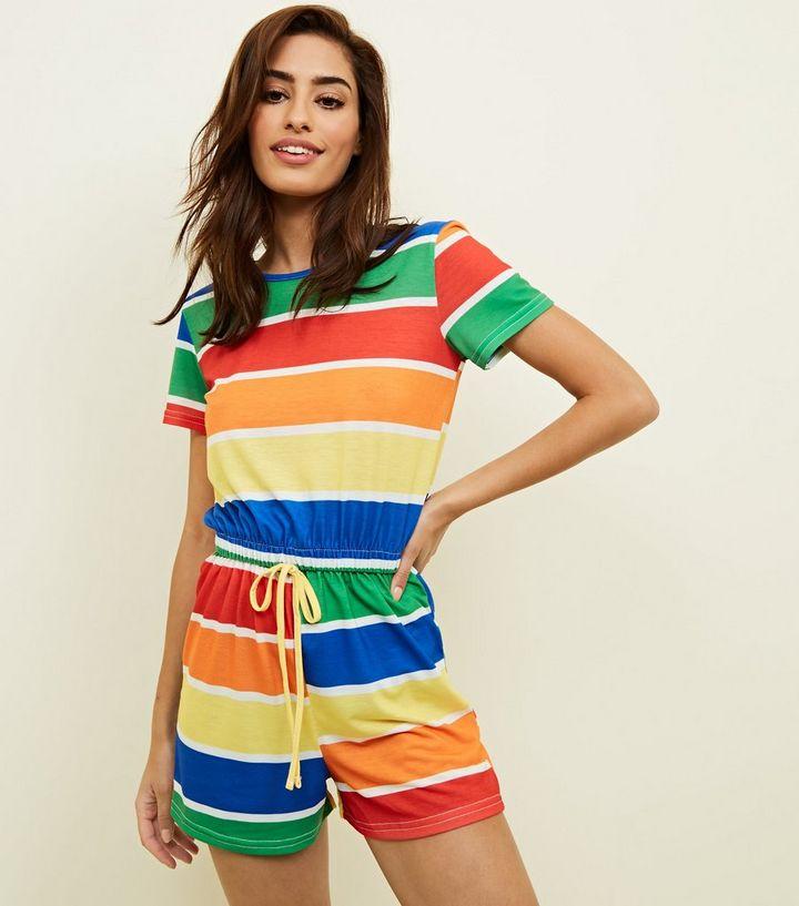 015e466bf58 Carpe Diem Rainbow Stripe Playsuit