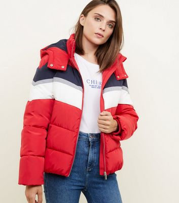 Red Colour Block Puffer Jacket