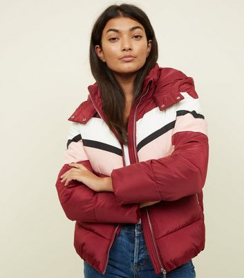 Burgundy Chevron Colour Block Puffer Coat