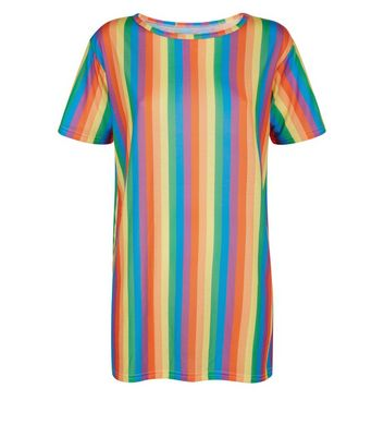 Carpe Diem Rainbow Stripe Longline Tunic top New Look