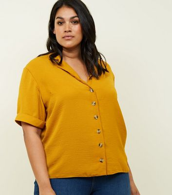 Curves Mustard Revere Collar Boxy Shirt