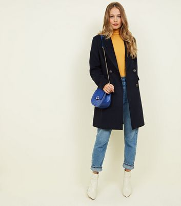 Navy Double Breasted Longline Coat