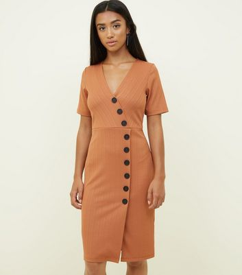 Petite Rust Ribbed Jersey Button Wrap Bodycon Dress