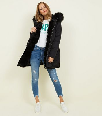 Black Pelted Faux Fur Parka Jacket