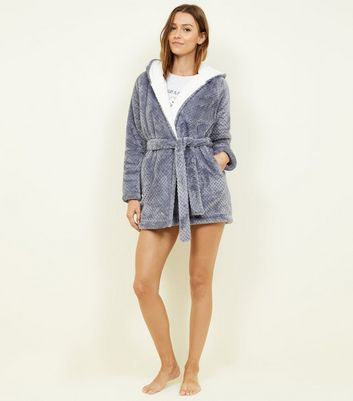 Pale Grey Waffle Borg Lined Dressing Gown