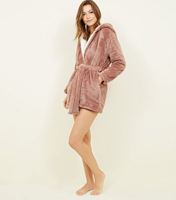 Light Brown Waffle Borg Lined Dressing Gown