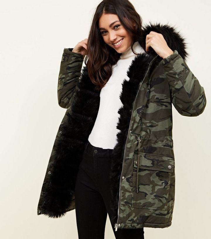 d19ef7584659 Khaki Camo Detachable Faux Fur Trim Parka