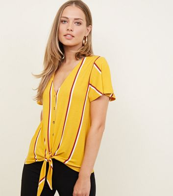 Tall Yellow Stripe Button Through Tie Front Top