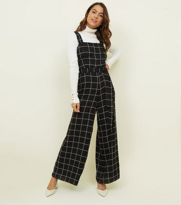 Petite Black Grid Check Belted Jumpsuit