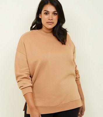 Curves Camel Side Split Slouchy Sweatshirt