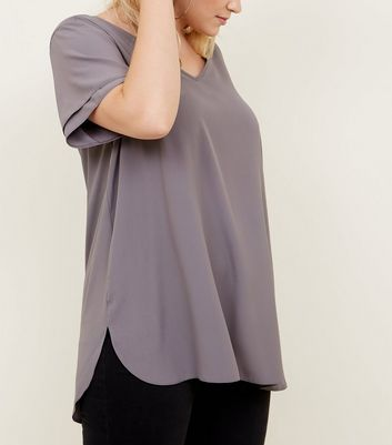 Curved Grey Tiered Sleeve Tunic Top