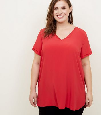 Curved Dark Red Tiered Sleeve Tunic Top