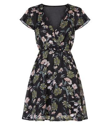 Mela Black Floral Flutter Sleeve Mini Dress New Look