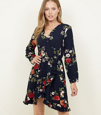 Mela Navy Floral Frill Trim Wrap Dress
