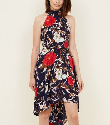 Mela Blue Floral High Neck Dip Hem Dress