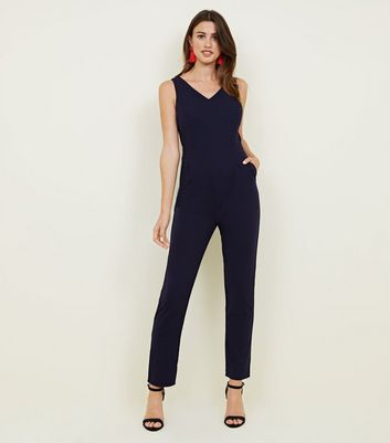 Mela Navy Structured V Neck Jumpsuit