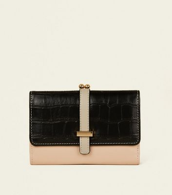 Pale Pink and Black Faux Croc Clip Purse