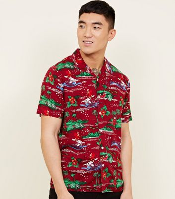 Red Viscose Surfing Santa Revere Collar Shirt