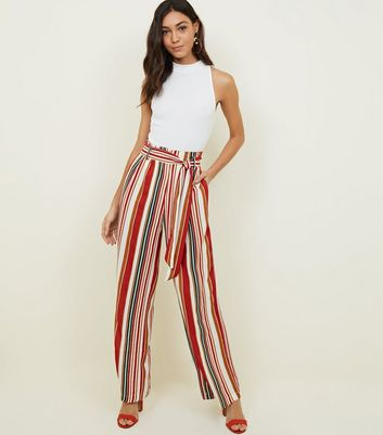 Blue Vanilla Red Stripe Paperbag Waist Trousers