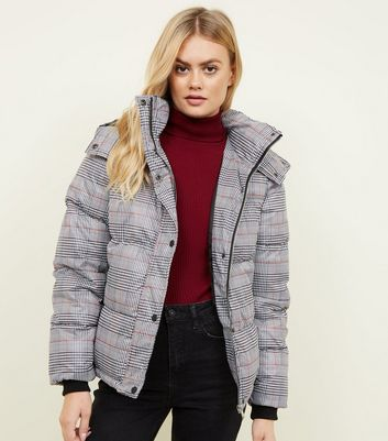 Blue Vanilla Black Check Puffer Jacket