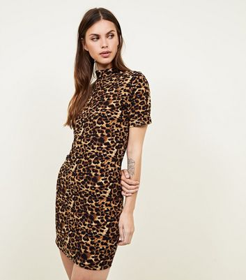 Pink Vanilla Brown Leopard Print Bodycon Dress