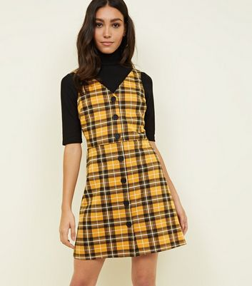 Yellow Check Button Through Pinafore Dress