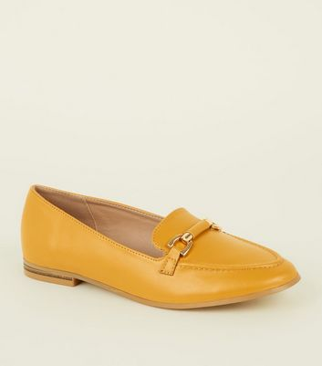 Yellow Leather-Look Bar Front Loafers