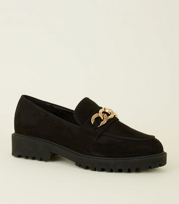 Black Suedette Chain Trim Chunky Loafers