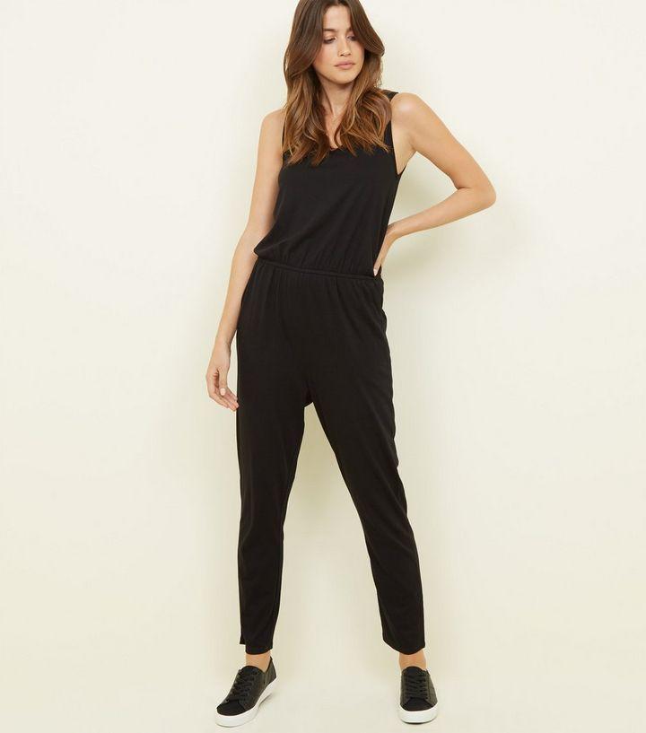 48e1ec5bc91 Black Sleeveless Jersey Jumpsuit