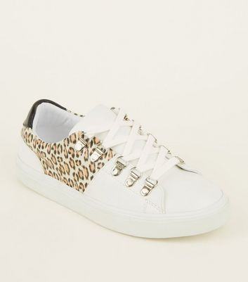 White Leopard Print Trim Lace Up Trainers