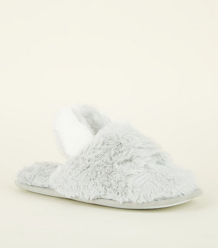 dc41dba852417 Grey Fluffy Bunny Mule Slippers Add to Saved Items Remove from Saved Items
