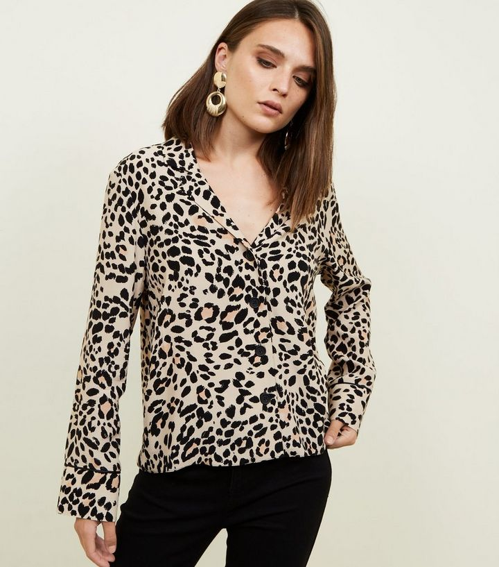 39baae3ac6 Tan Leopard Print Shirt