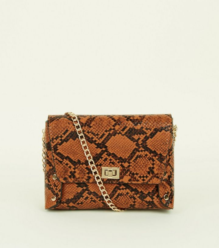 1f40cdf0425d Tan Faux Snake Chain Strap Cross Body Bag Add to Saved Items Remove from  Saved Items