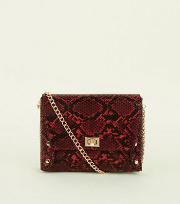 Red Faux Snake Chain Strap Cross Body Bag