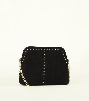 Black Studded Structured Cross Body Bag