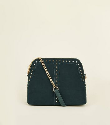 Green Studded Structured Cross Body Bag