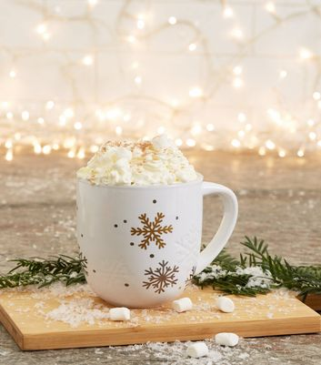 White Hot Chocolate Snowflake Mug Set