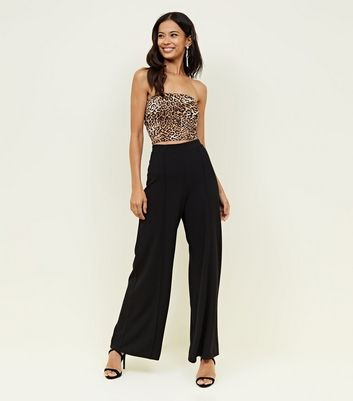 Black Pintuck Wide Leg Trousers